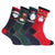 Red-Navy-Green - Front - FLOSO Mens Christmas Character Design Novelty Socks (4 Pairs)