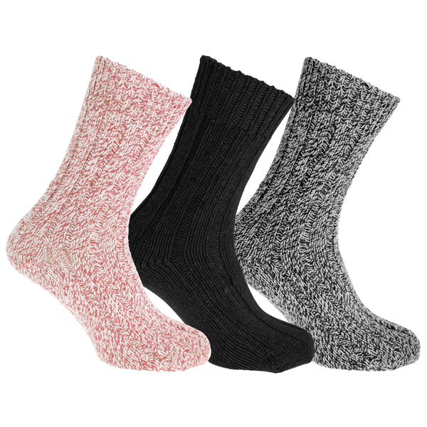 Assorted - Side - Floso Unisex Adults Wool Rich Socks (3 Pairs)
