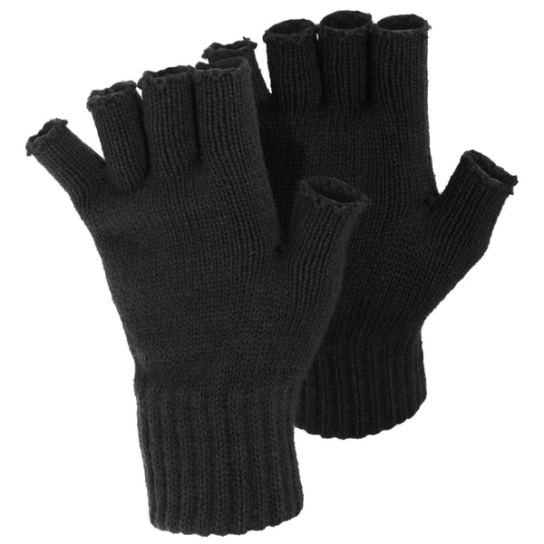 Black - Front - FLOSO Ladies-Womens Winter Fingerless Gloves
