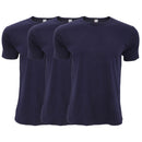 Navy - Front - FLOSO Mens Interlock Underwear T-Shirt (Pack Of 3)