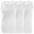 White - Front - FLOSO Mens Interlock Single Vest (Pack Of 3)