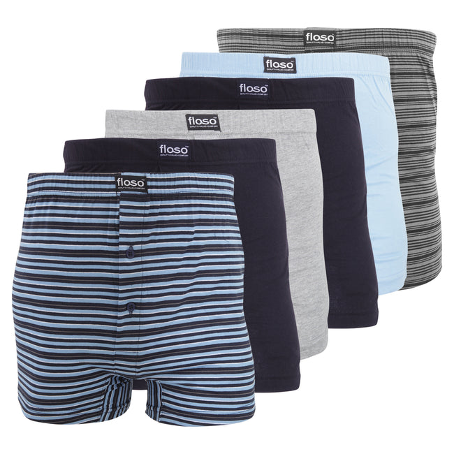 Navy-Blue-Grey - Front - FLOSO Mens Cotton Mix Boxer Shorts (Pack Of 6)