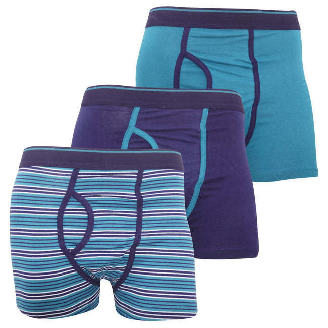 Red - Back - FLOSO Mens Cotton Mix Key Hole Trunks Underwear (Pack Of 3)
