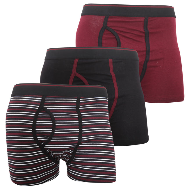 Red - Front - FLOSO Mens Cotton Mix Key Hole Trunks Underwear (Pack Of 3)
