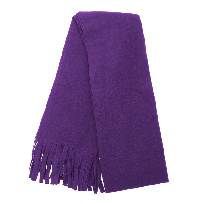 Navy - Front - FLOSO Ladies-Womens Plain Thermal Fleece Winter-Ski Scarf With Fringe