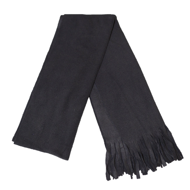 Black - Front - FLOSO Ladies-Womens Plain Thermal Fleece Winter-Ski Scarf With Fringe