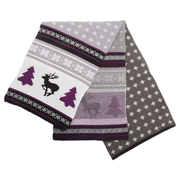 Grey-Purple - Front - FLOSO Mens Knitted Christmas Fairisle Pattern Winter Scarf