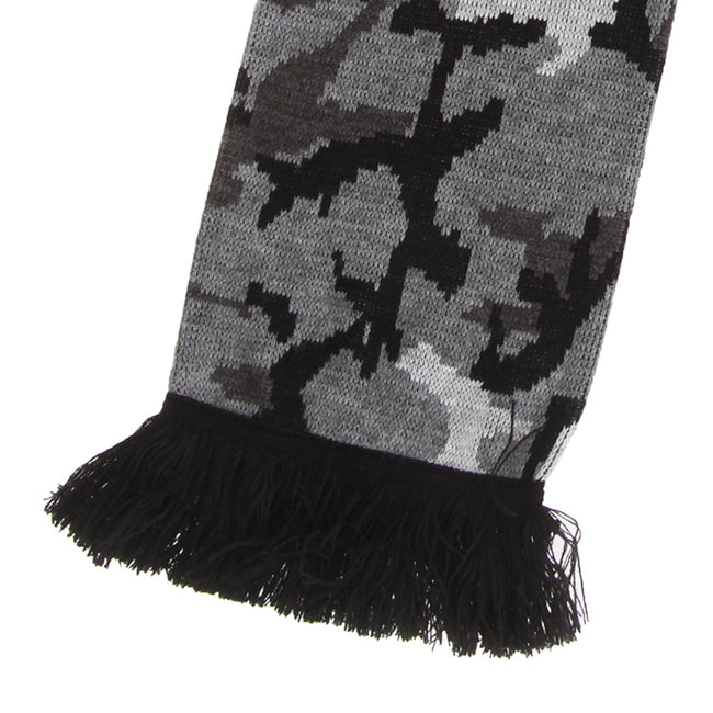 Brown - Front - FLOSO Unisex Camouflage Knitted Winter Scarf With Fringe