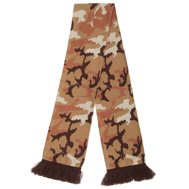 Green - Front - FLOSO Unisex Camouflage Knitted Winter Scarf With Fringe