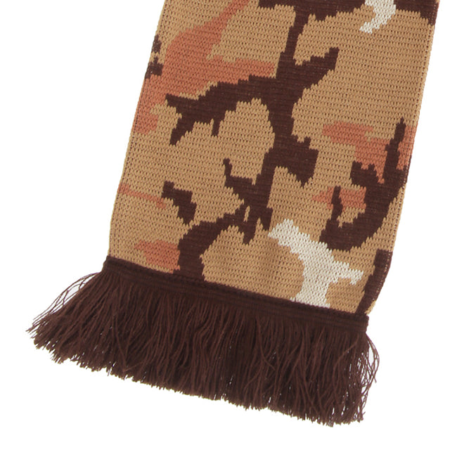 Dark Green - Front - FLOSO Unisex Camouflage Knitted Winter Scarf With Fringe
