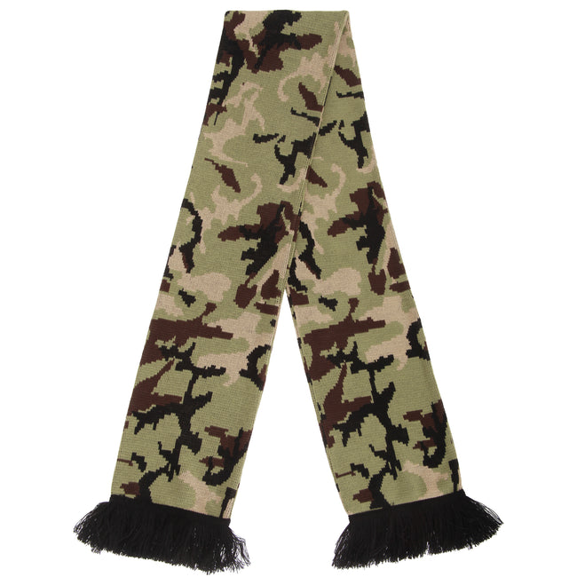 Pink - Front - FLOSO Unisex Camouflage Knitted Winter Scarf With Fringe