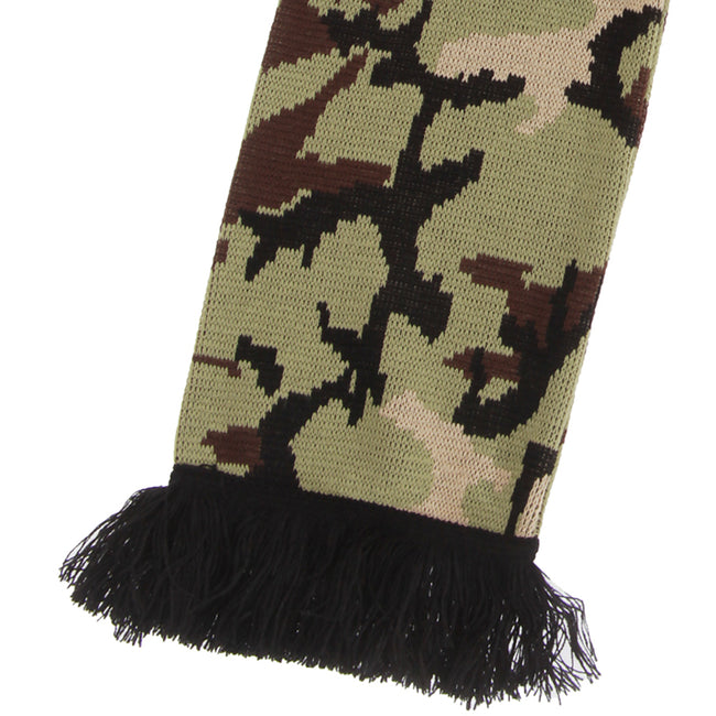 Blue - Front - FLOSO Unisex Camouflage Knitted Winter Scarf With Fringe