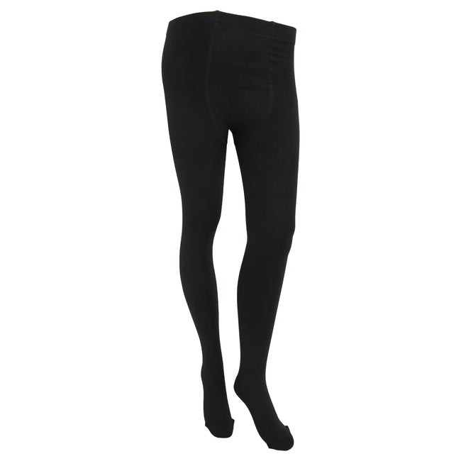Black - Front - FLOSO Womens-Ladies Plain Thermal Tights With Brushed Inner (0.5 Tog)