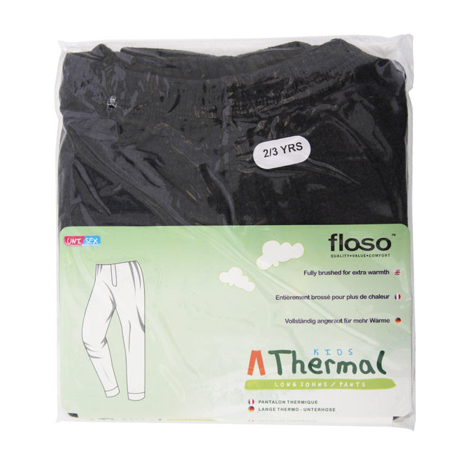 White - Front - FLOSO Unisex Childrens-Kids Thermal Underwear Long Johns-Pants