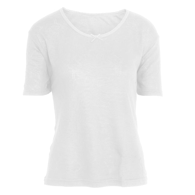 White - Front - FLOSO Ladies-Womens Thermal Underwear Short Sleeve T-Shirt (Viscose Premium Range)