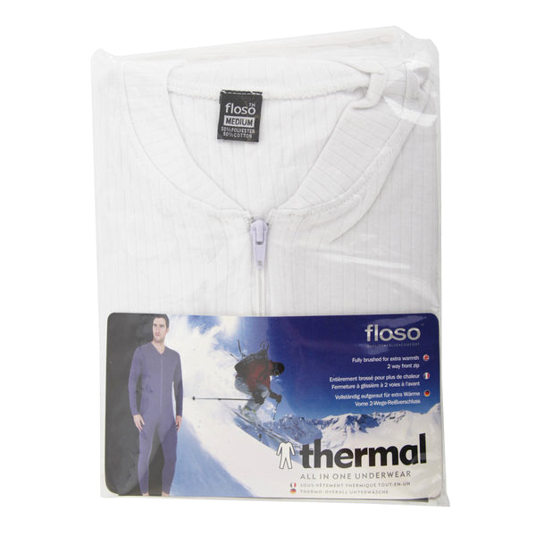 White - Back - FLOSO Mens Thermal Underwear All In One Union Suit With Rear Flap (Standard Range)