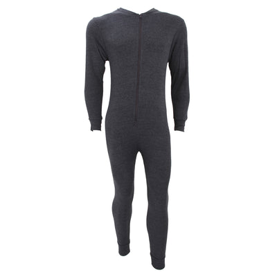 Charcoal - Front - FLOSO Mens Thermal Underwear All In One Union Suit With Rear Flap (Standard Range)