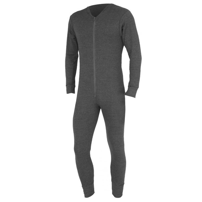 Charcoal - Front - FLOSO Mens Thermal Underwear All In One Union Suit