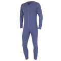 Denim - Front - FLOSO Mens Thermal Underwear All In One Union Suit