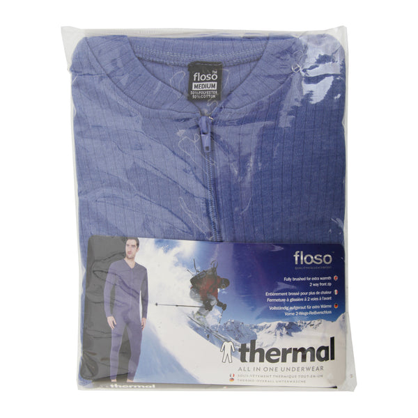 Blue - Back - FLOSO Mens Thermal Underwear All In One Union Suit