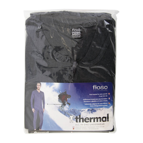 Charcoal - Back - FLOSO Mens Thermal Underwear All In One Union Suit