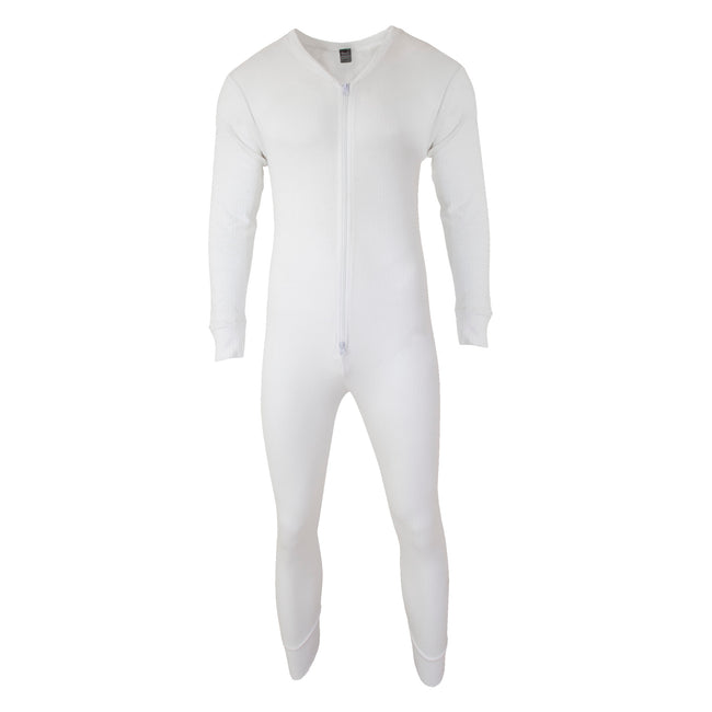 White - Front - FLOSO Mens Thermal Underwear All In One Union Suit