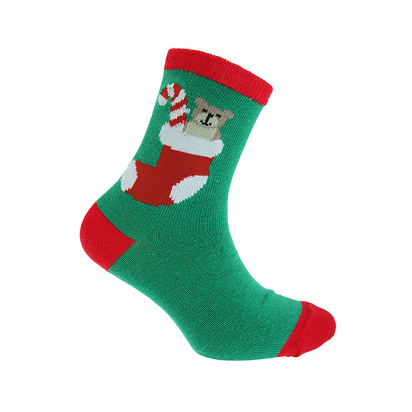 Green Bear - Front - FLOSO Childrens-Kids Christmas Socks