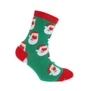 Green Santa - Front - FLOSO Childrens-Kids Christmas Socks