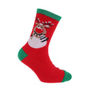 Red Reindeer - Front - FLOSO Childrens-Kids Christmas Socks