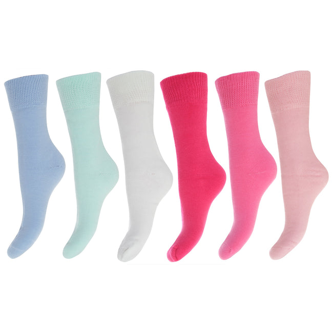 Pink-Blue Shades - Front - FLOSO Ladies-Womens Premium Quality Multipack Thermal Socks, Double Brushed Inside (Pack Of 6)