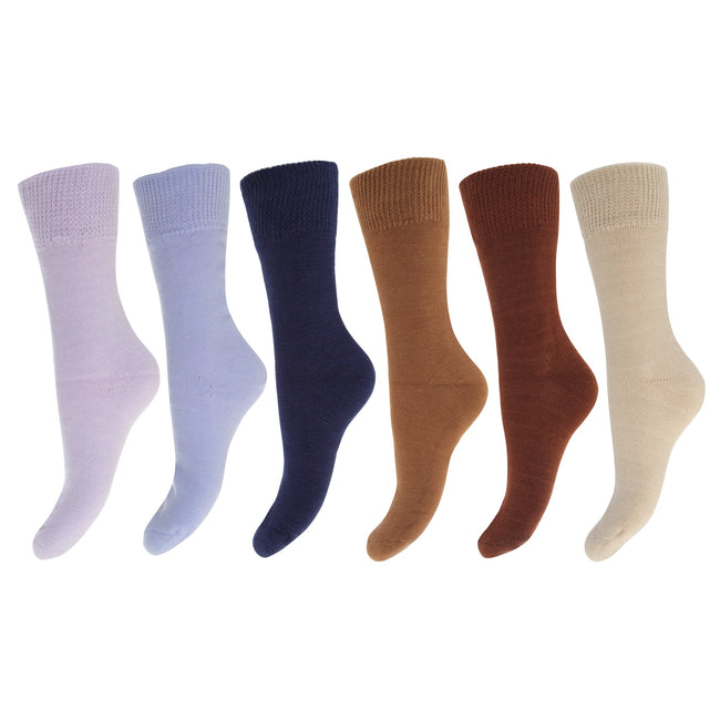 Brown-Blue Shades - Front - FLOSO Ladies-Womens Premium Quality Multipack Thermal Socks, Double Brushed Inside (Pack Of 6)