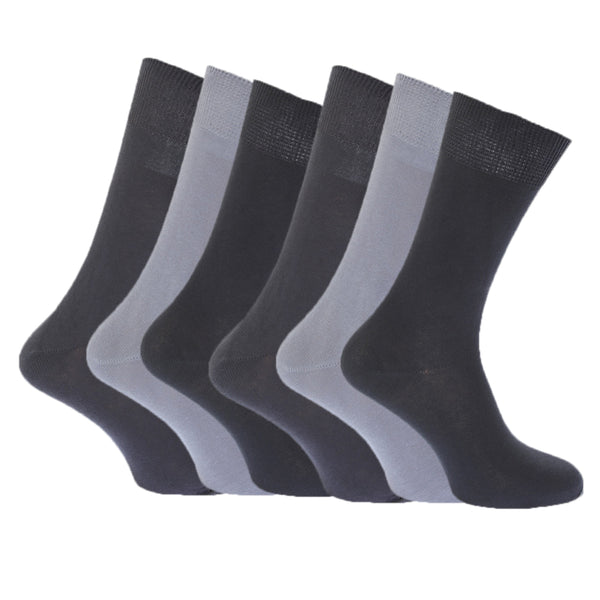 Shades of Grey - Back - FLOSO Womens-Ladies Plain 100% Cotton Socks (Pack Of 6)