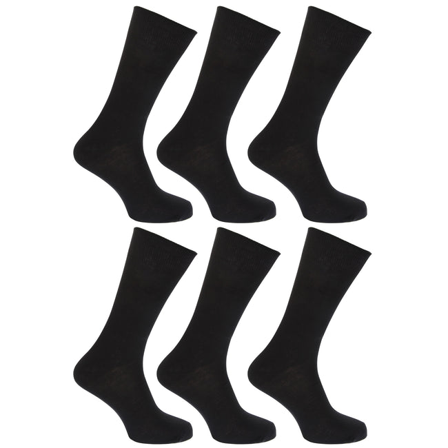 Black - Front - FLOSO Womens-Ladies Plain 100% Cotton Socks (Pack Of 6)