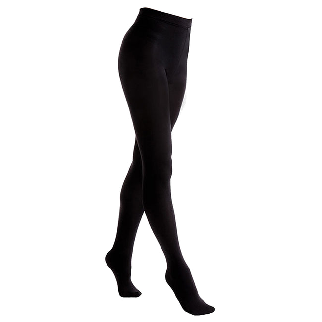 Black - Front - FLOSO Ladies-Womens Black Brushed Thermal Fleece Tights (1 Pair)