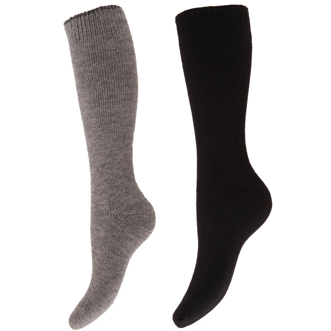 Black - Front - Floso Womens-Ladies Thermal Winter Wellington-Welly Boot Socks (2 Pairs)