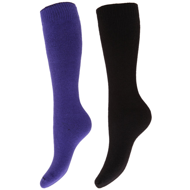 Purple-Black - Front - Floso Womens-Ladies Thermal Winter Wellington-Welly Boot Socks (2 Pairs)