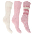 Grey - Front - FLOSO Ladies-Womens Thermal Thick Chunky Wool Blended Socks (Pack Of 3)