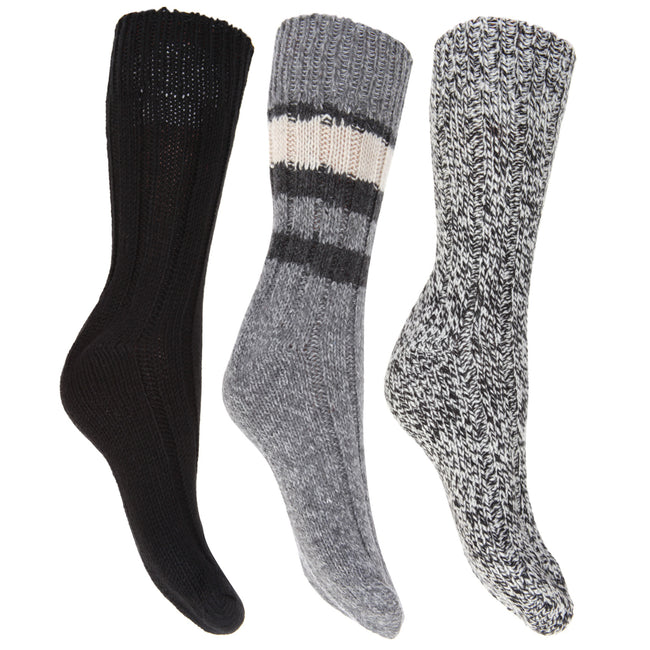 Blue - Front - FLOSO Ladies-Womens Thermal Thick Chunky Wool Blended Socks (Pack Of 3)