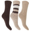 Beige - Front - FLOSO Ladies-Womens Thermal Thick Chunky Wool Blended Socks (Pack Of 3)