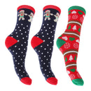 Gingerbread and Heart - Front - FLOSO Ladies-Womens Christmas Novelty Socks (Assorted Pack Of 3)