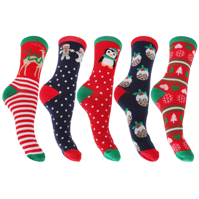 Assorted - Front - FLOSO Ladies-Womens Christmas Novelty Socks (Assorted Pack Of 3)