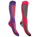 Fuchsia-Purple - Front - FLOSO Womens-Ladies Ski Socks (Pack Of 2)