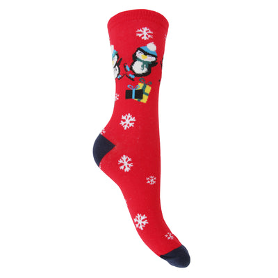 Navy-Red-Blue - Back - FLOSO Womens-Ladies Christmas Character Design Novelty Socks (4 Pairs)