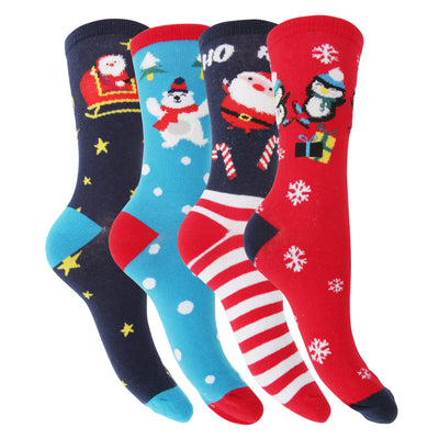 Navy-Red-Blue - Front - FLOSO Womens-Ladies Christmas Character Design Novelty Socks (4 Pairs)
