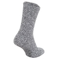Grey - Front - FLOSO Ladies Warm Slipper Socks With Rubber Non Slip Grip