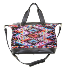 Load image into Gallery viewer, MoonLake Designs Augustina weekender bag in black leather with beautiful handwoven huipil art