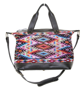 MoonLake Designs Augustina weekender bag in black leather with beautiful handwoven huipil art