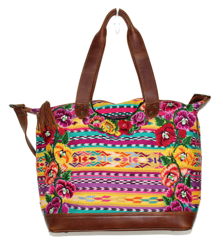 MoonLake Designs Augustina weekender bag in medium tan leather with beautiful handwoven huipil art