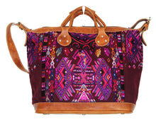Load image into Gallery viewer, MoonLake Designs Augustina weekender bag in tan leather with beautiful handwoven huipil art