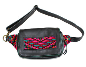 MoonLake Designs Hip Belt in handcrafted black leather with green leather trim